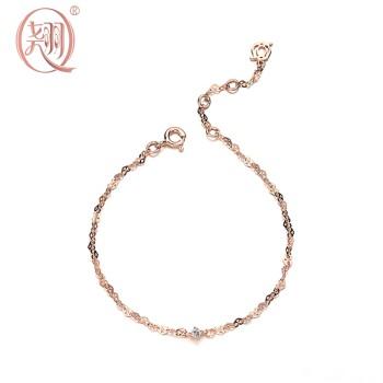 翘珠宝 925纯银玫瑰金色心花放柔美手链
