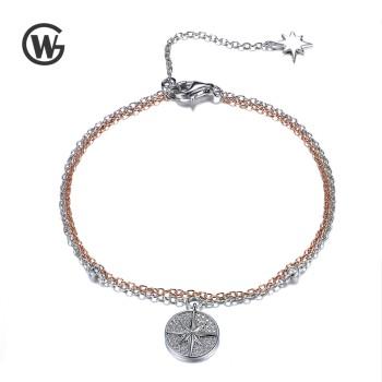 GW 925纯银玫瑰金白金镀金罗盘星锆石气质手链 YL544-7