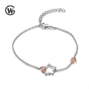 GW 925纯银韩版简约气质锆石镂空星星手链 YL549