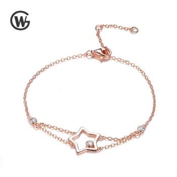 GW 925纯银玫瑰金镀金星星锆石手链女大气时尚 YL551-17