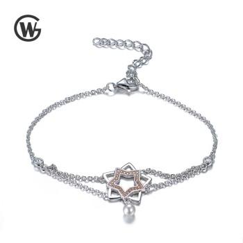 GW 925银饰锆石双星珍珠手链简约女大气时尚 YL552-17