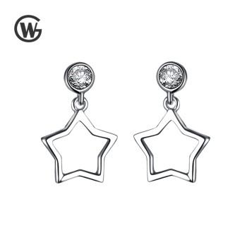 GW 925纯银锆石镂空星星耳环简约大气文艺耳坠 ER0922