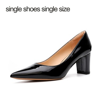 single shoes single size 一鞋一码牛漆皮粗跟高跟鞋女鞋 J0260BC