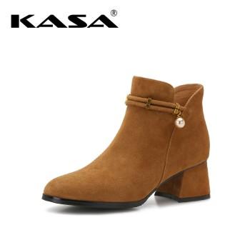 KASA 卡萨 百搭休闲中跟短筒女靴女鞋K7609