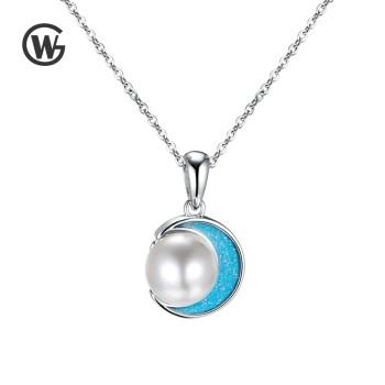 GW 925纯银月亮淡水珍珠简约白金吊坠森系项链 NET1068