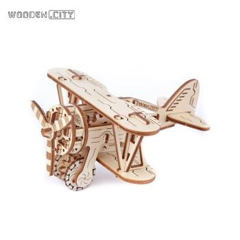 WOODEN.CITY 木制机械传动儿童拼装模型-双翼飞机 WR 304