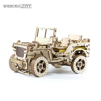WOODEN.CITY 木制机械传动儿童拼装模型-四驱吉普车 WR 309