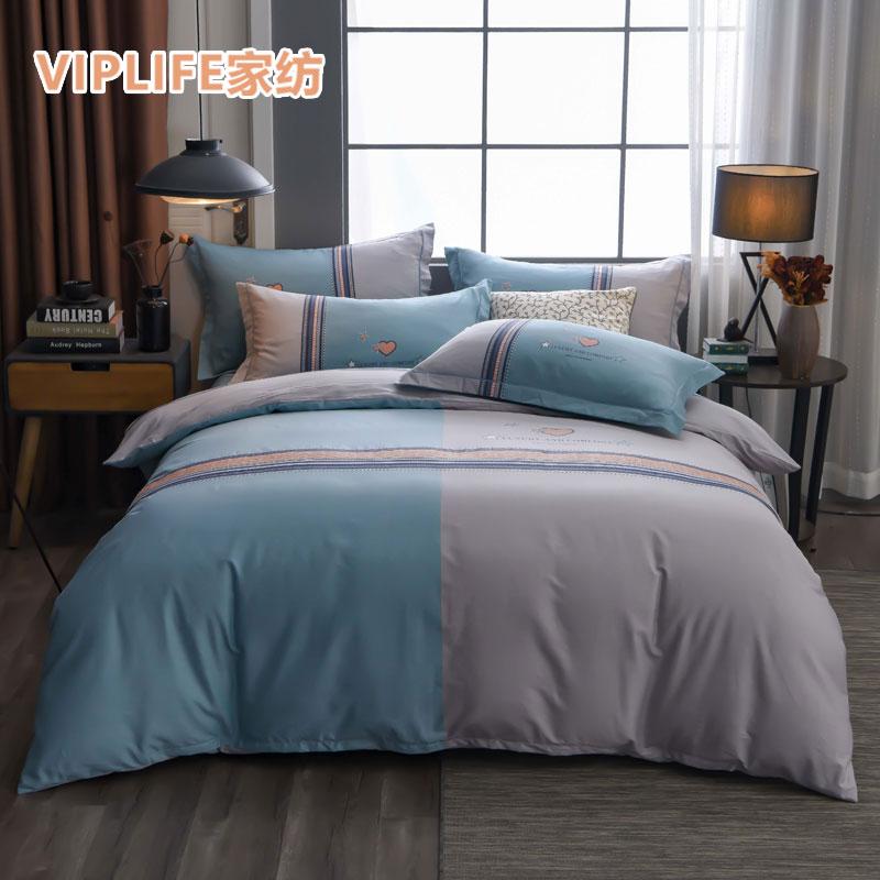 VIPLIFE [简约条纹系列]大版精梳全棉床笠四件套 1.8米床