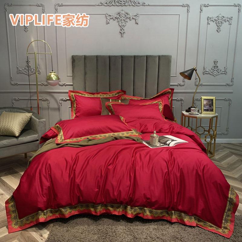VIPLIFE [数码印花贡缎系列]贡缎长绒棉床单四件套 1.8米床