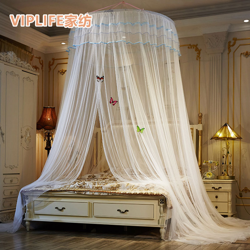 VIPLIFE [吊顶蚊帐-芳华系列]双层吸盘宫廷吊挂圆顶公主蚊帐