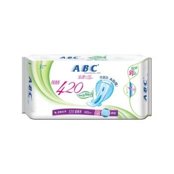 ABC亲柔立围加长甜睡夜用丝薄棉柔卫生巾